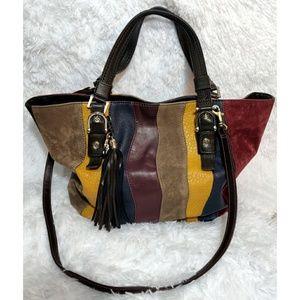 Multi Colored Faux Leather & Suede Purse